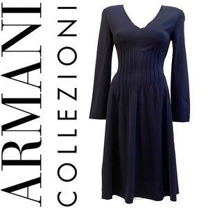 ARMANI COLLEZIONI blue long sleeve midi dress
